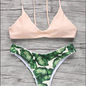 zaful leaf print cheeky bikini
